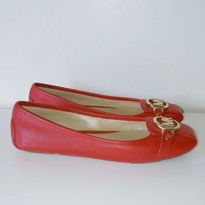 Michael Kors rubber soles red leather flats